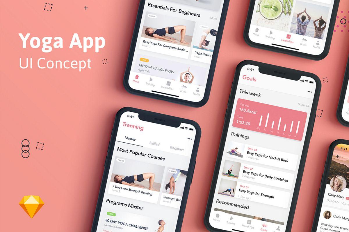 Yoga Fitness App UI Kit example image 1