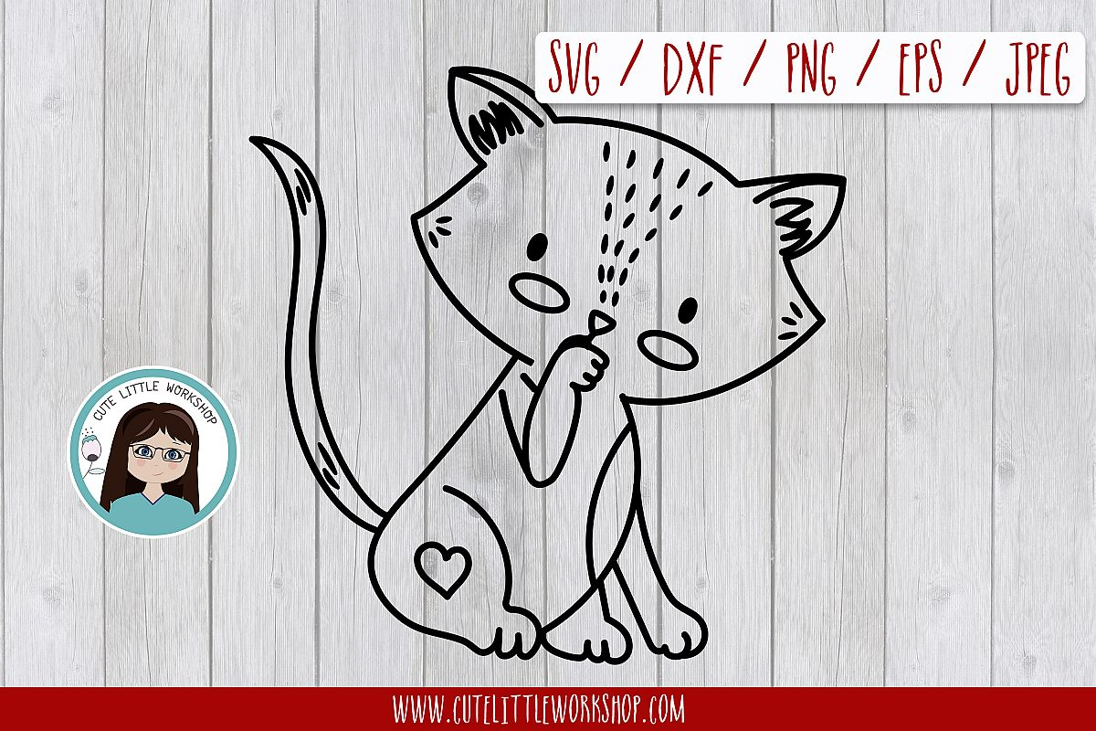 Love cat svg, dxf, png, eps example image 1
