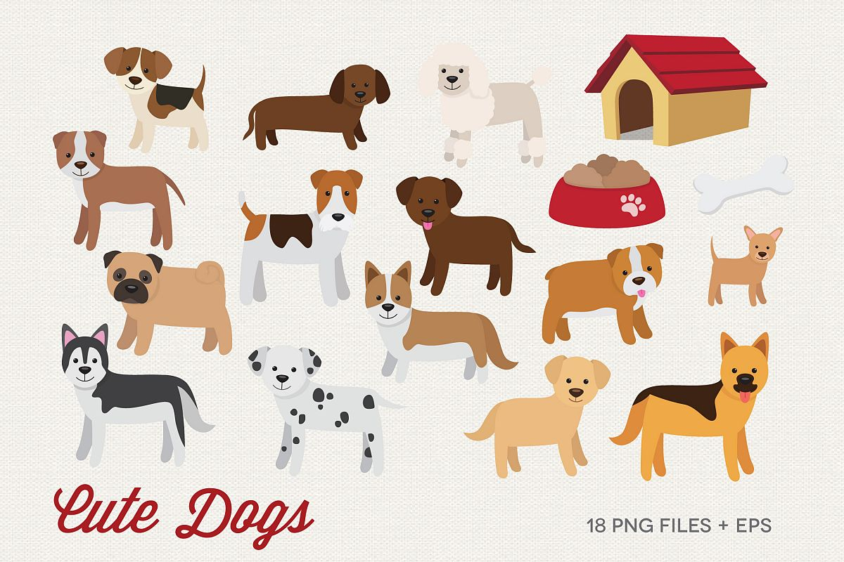 Cute Dogs Clipart example image 1