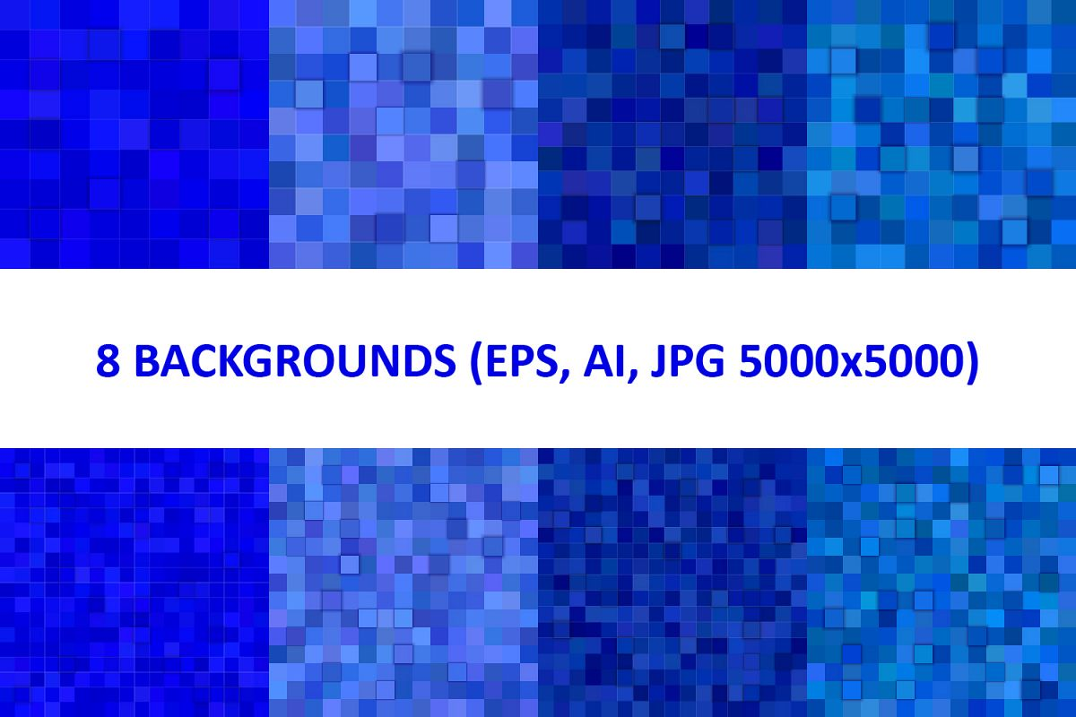 8 Blue 3D Square Backgrounds (AI, EPS, JPG 5000x5000) example image 1