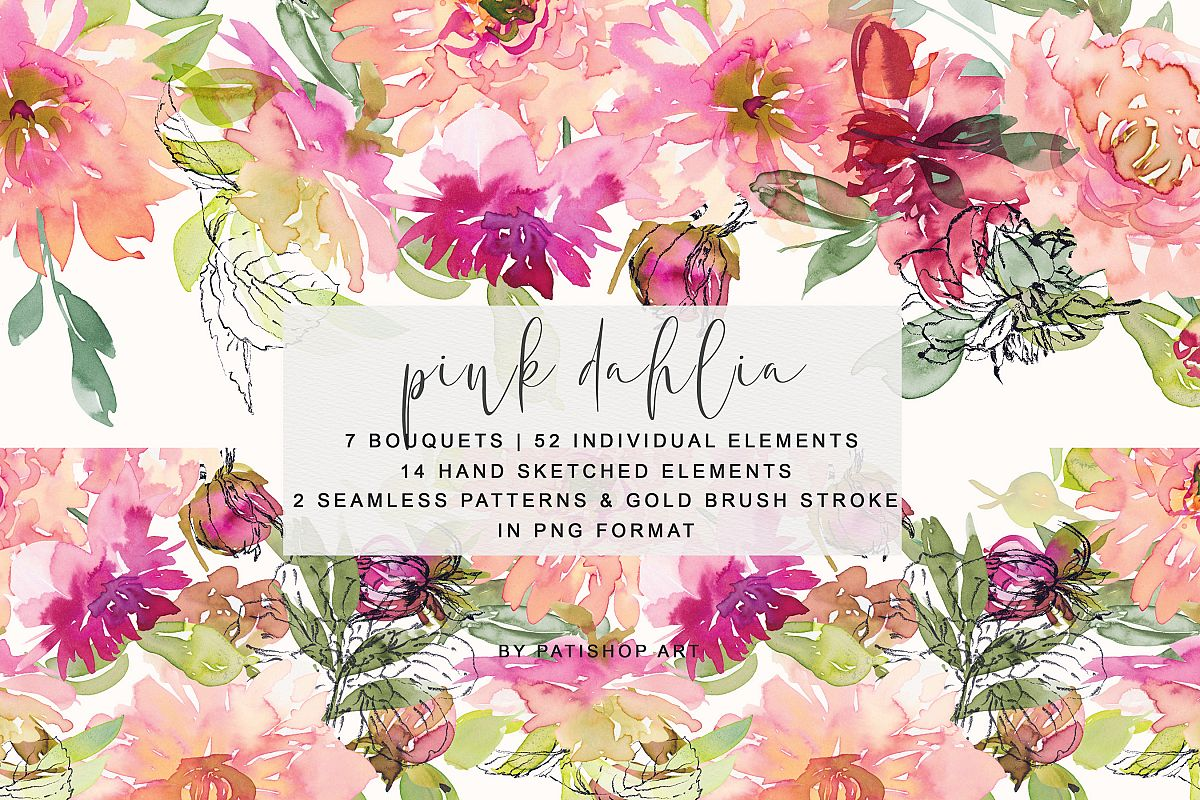 Watercolor Dahlia Flowers Clipart Collection example image 1