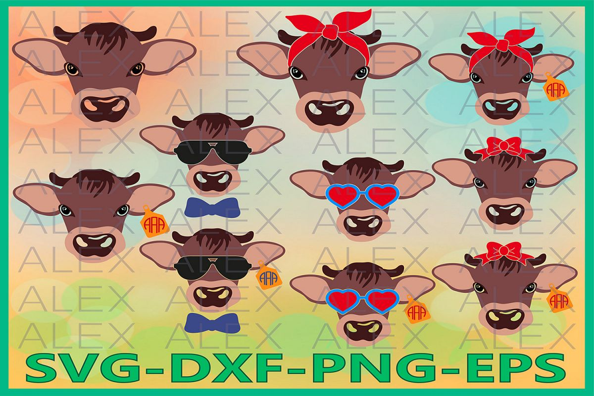 Calf Svg Files, Calf with Bandana svg, Calf face svg example image 1