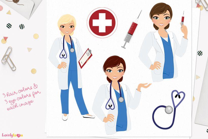 Nurse woman character clip art L397 Vivian example image 1