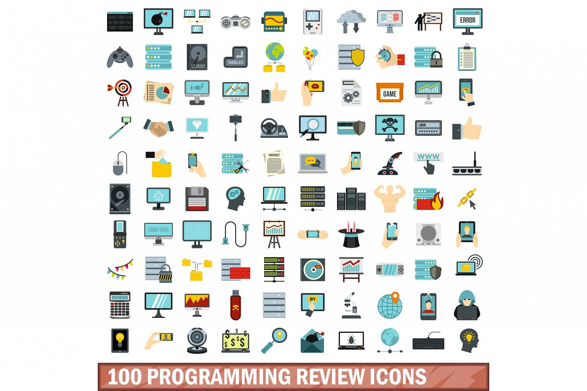 100 programming review icons set, flat style example image 1