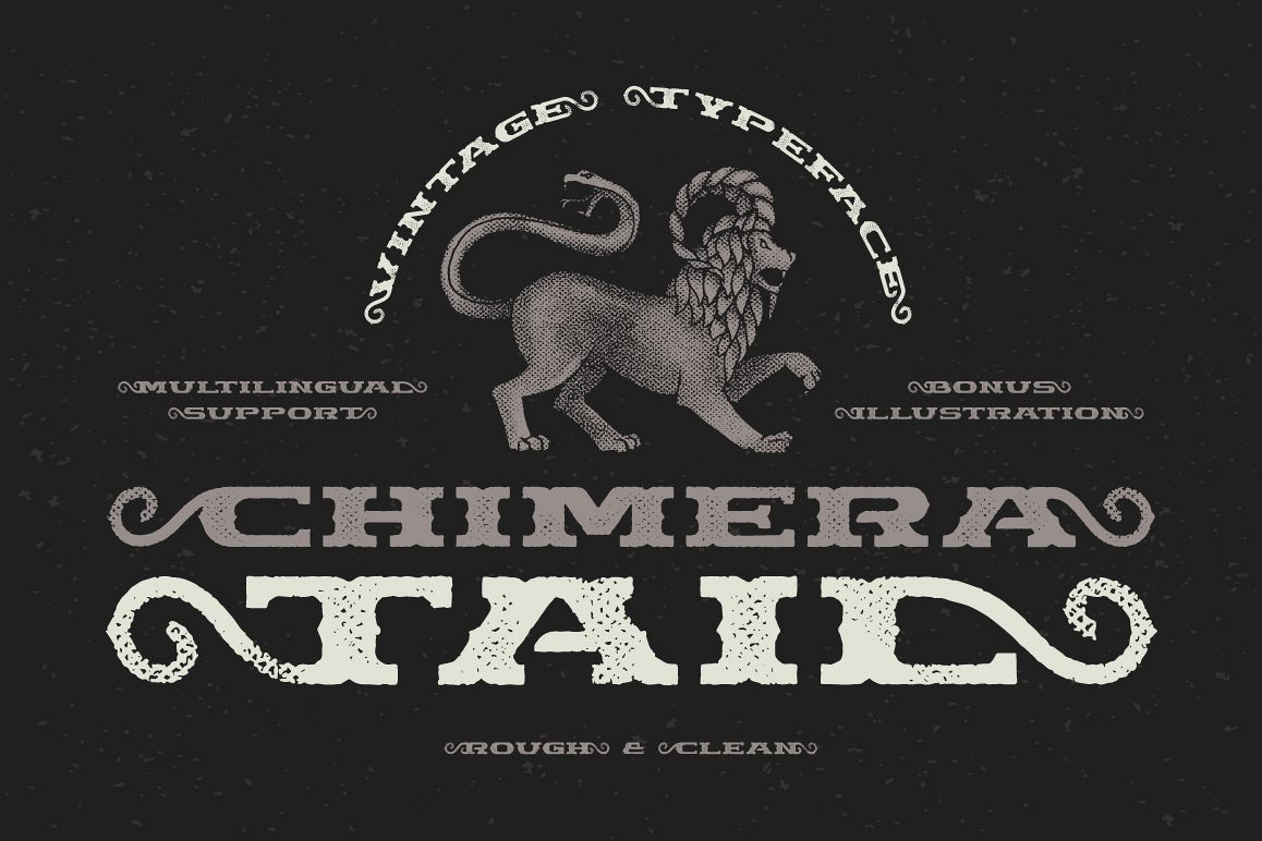 Chimera Tail, font + illustration example image 1