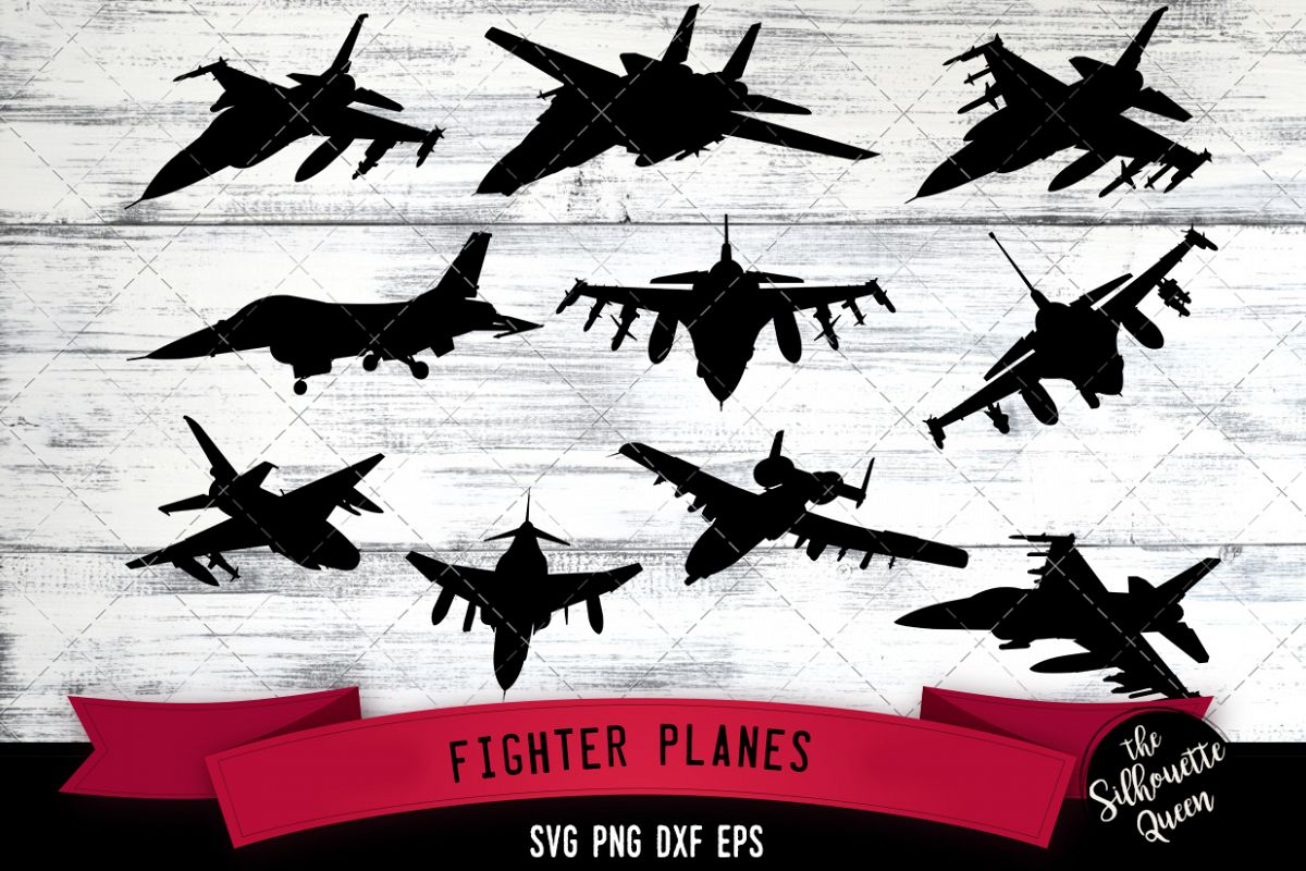 Fighter plane svg file, svg cut file, silhouette studio example image 1