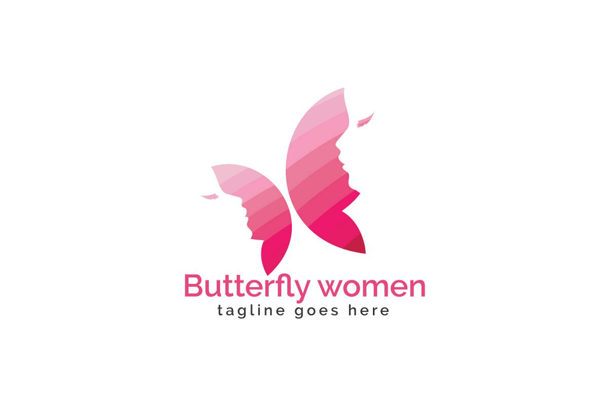 Butterfly women logo design. example image 1