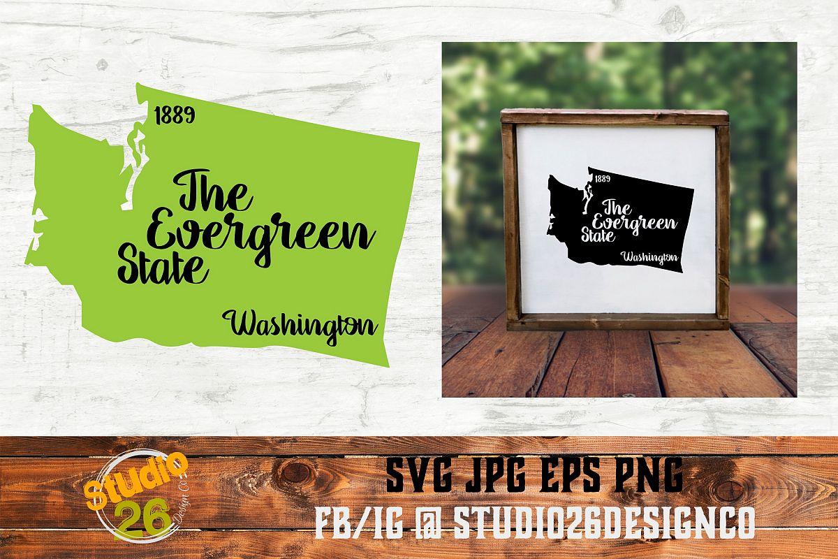Washington - State Nickname & EST Year - 2 Files - SVG PNG example image 1
