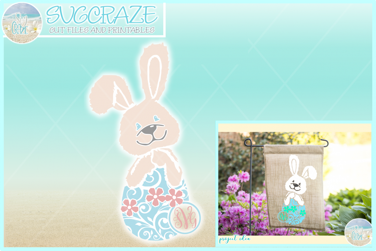 Easter Bunny Monogram SVG DXF EPS PNG PDF example image 1