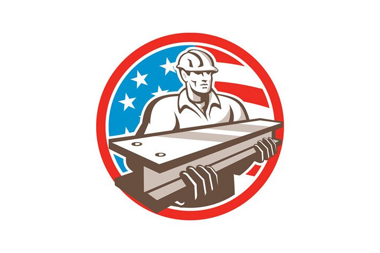 Construction Steel Worker I-Beam USA Flag Circle example image 1