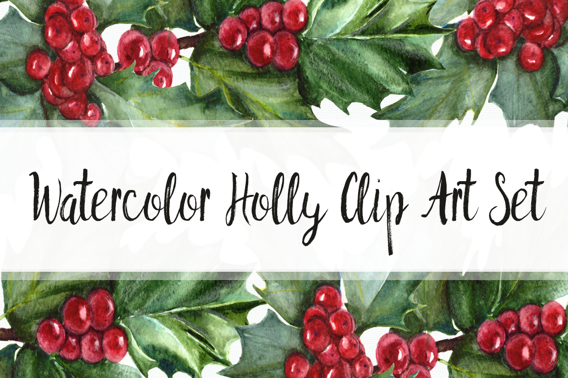 Watercolor Holly Clip Art Set example image 1