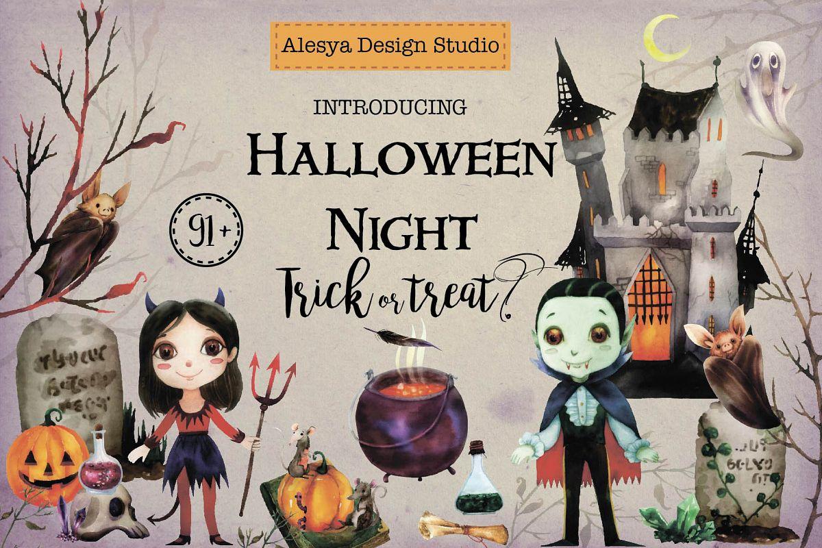 Halloween Night. Watercolor halloween characters. example image 1