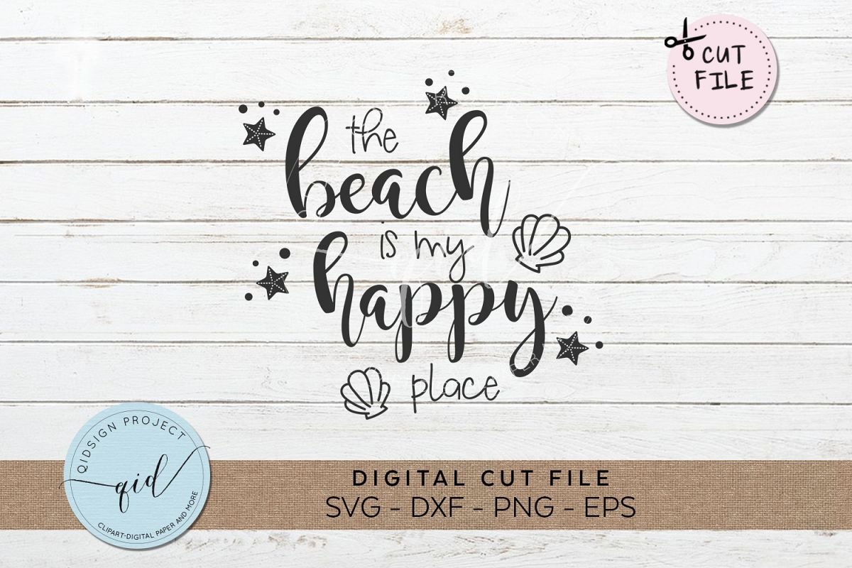 The Beach Is My Happy Place SVG DXF PNG EPS example image 1