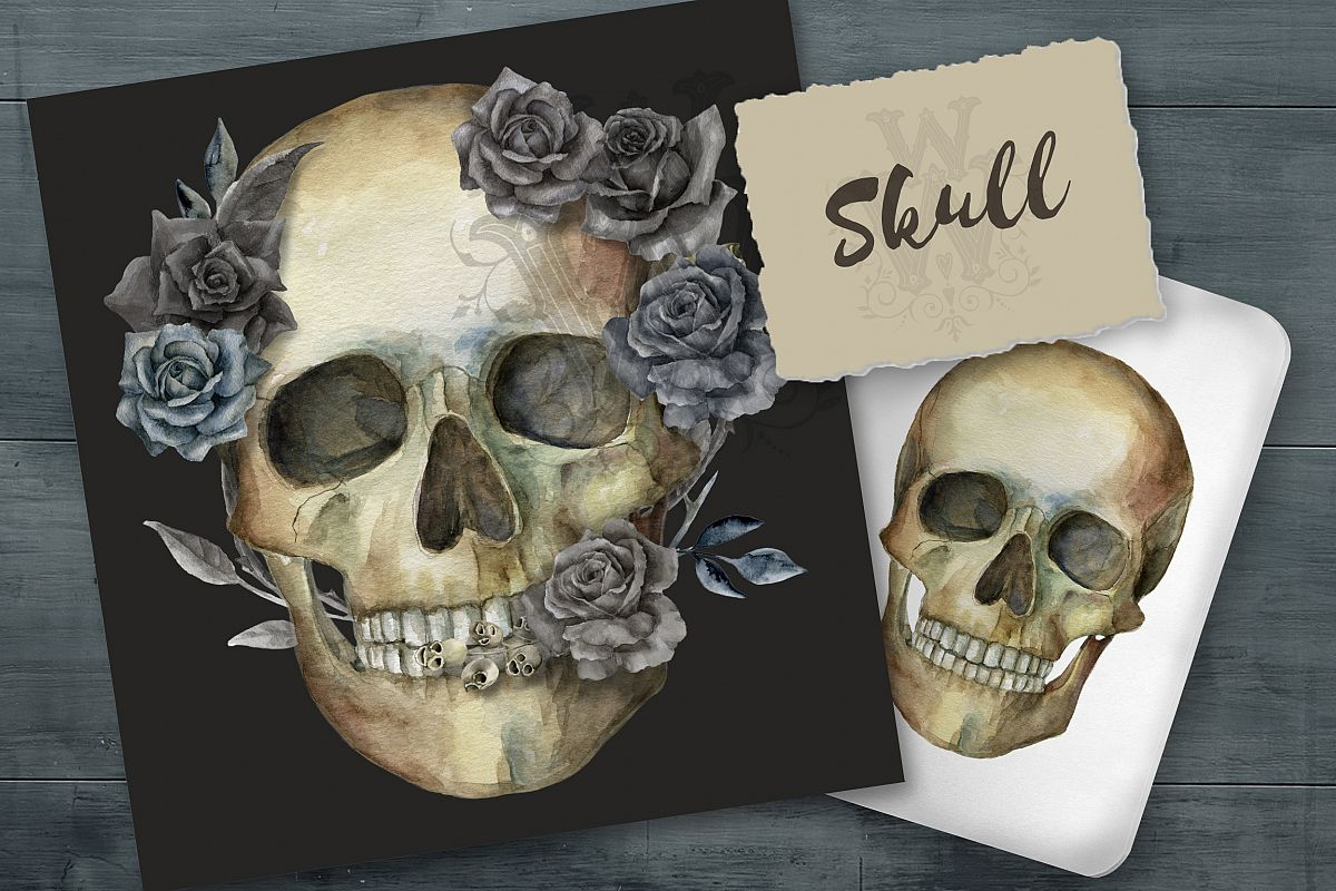 Watercolor skull, Halloween floral clipart example image 1