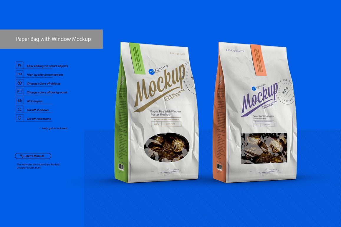 White Paper Bag with Window Mockup example image 1