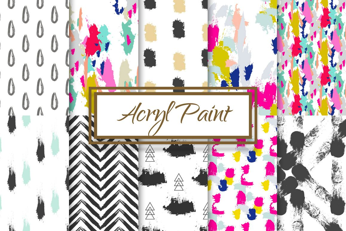 10 Seamless Acrylic Paint Patterns example image 1