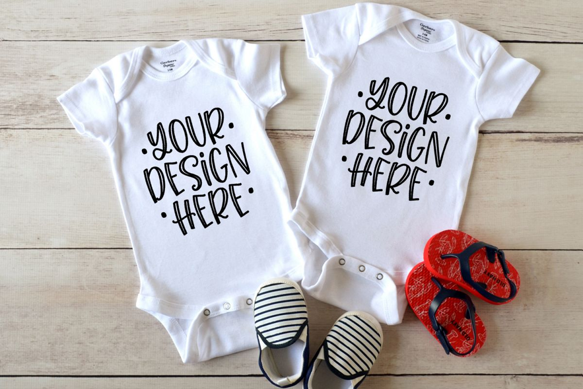 2 White baby bodysuits mockup with baby shoes example image 1