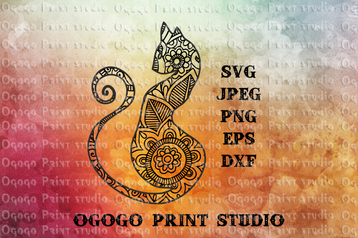 Cat SVG, Mandala svg, Zentangle SVG, Pet svg, Animal svg example image 1