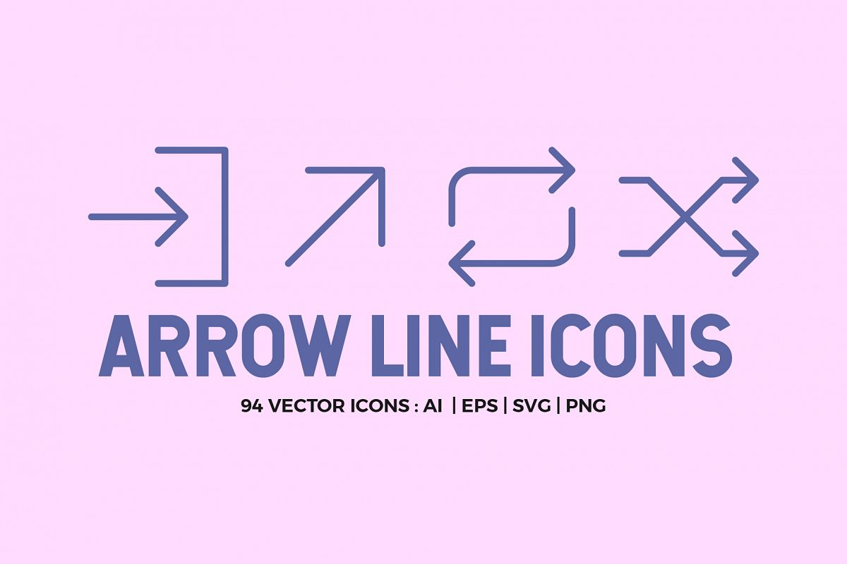 94 Arrow Line Icons Pack example image 1
