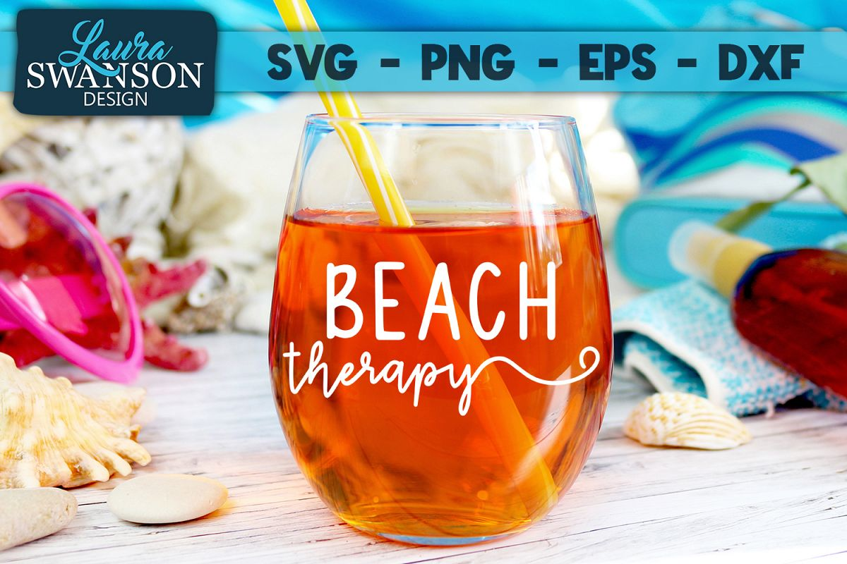 Beach Therapy SVG, PNG, EPS, DXF example image 1