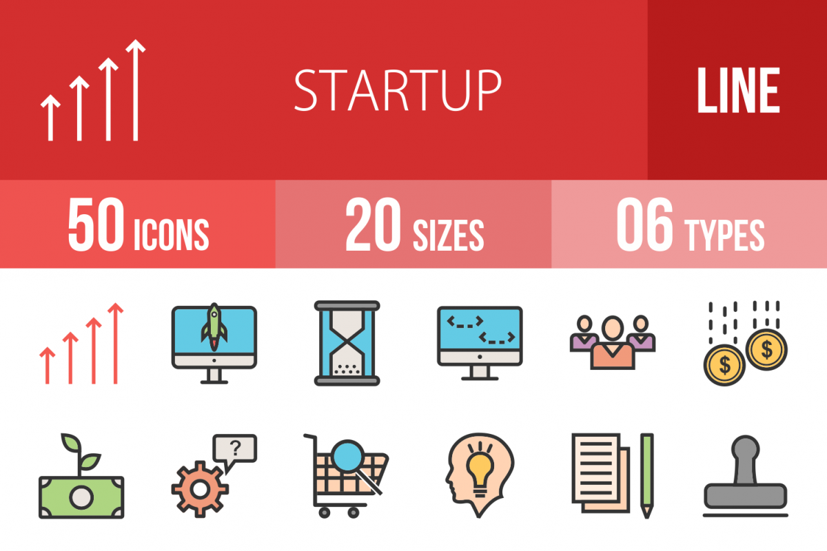 50 Startup Linear Multicolor Icons example image 1