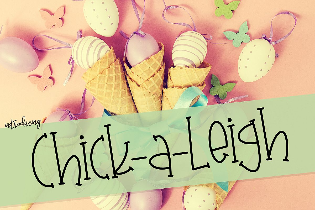Chick-A-Leigh a Spring Font with Extra Doodles! example image 1