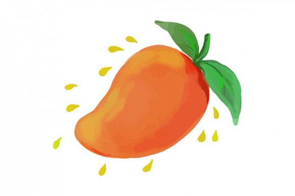 Juicy Mango Fruit Watercolor example image 1