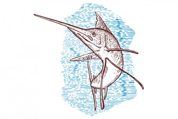 Sailfish Fish Jumping Sketch example image 1
