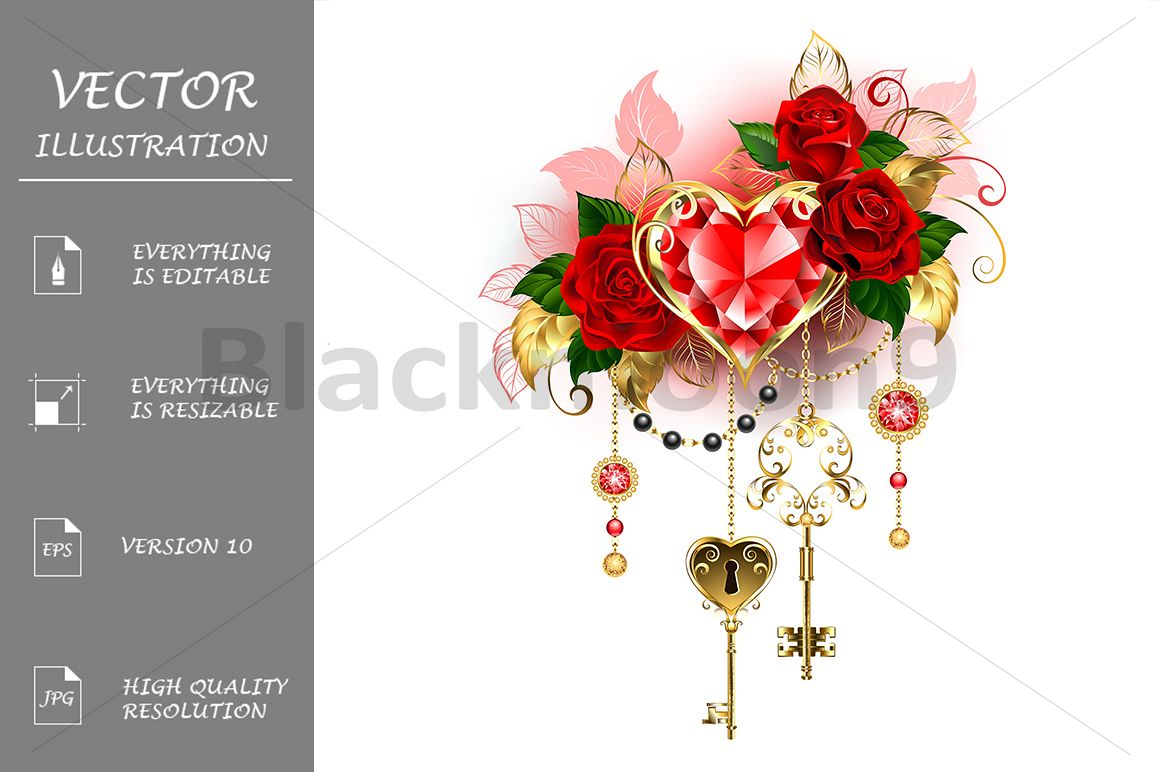Ruby Heart with Roses example image 1