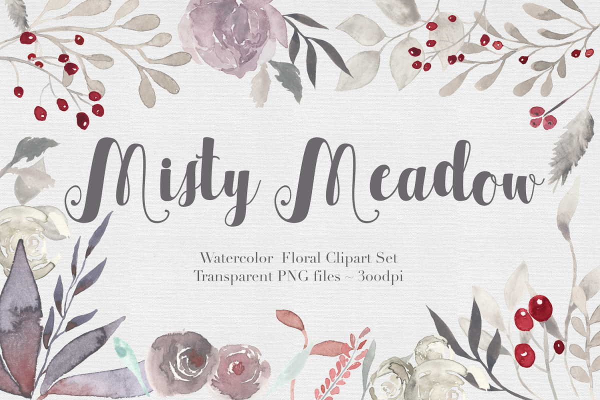 Misty Meadow Floral Clipart Set example image 1