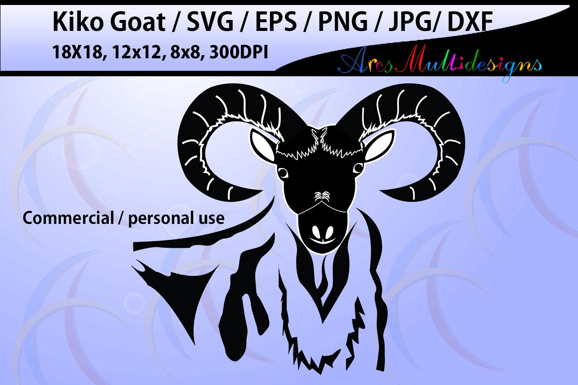 Kiko goat silhouette / silhouette /Commercial & personal /vinyl, Diy / cricut / singles / 18x18 HQ/ car decal / Dxf / Png / Eps / Svg /Jpg example image 1