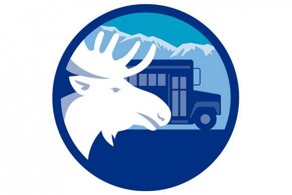Moose Head School Bus Circle Retro example image 1