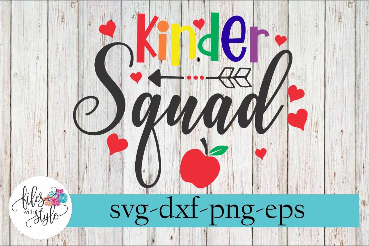 Teacher Kindergarten Squad SVG Cutting Files example image 1