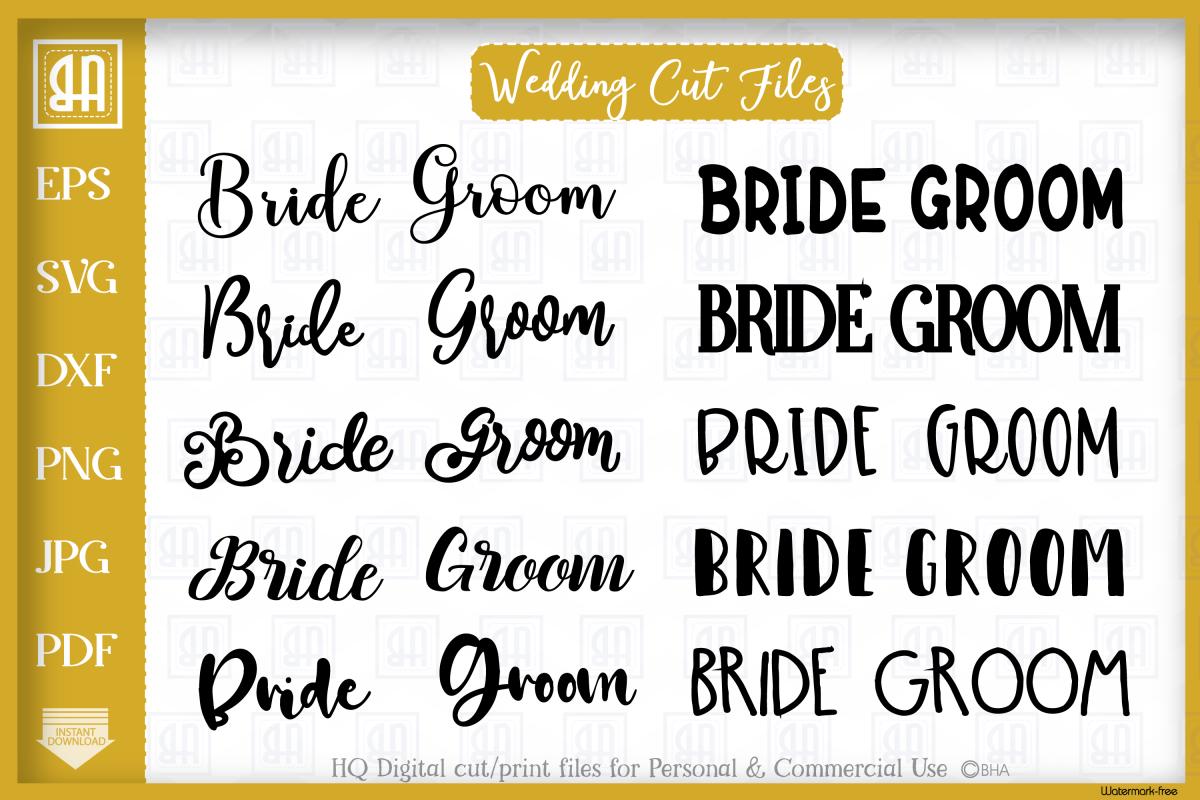 WEDDING SVG BUNDLE, BRIDE SVG, GROOM SVG example image 1