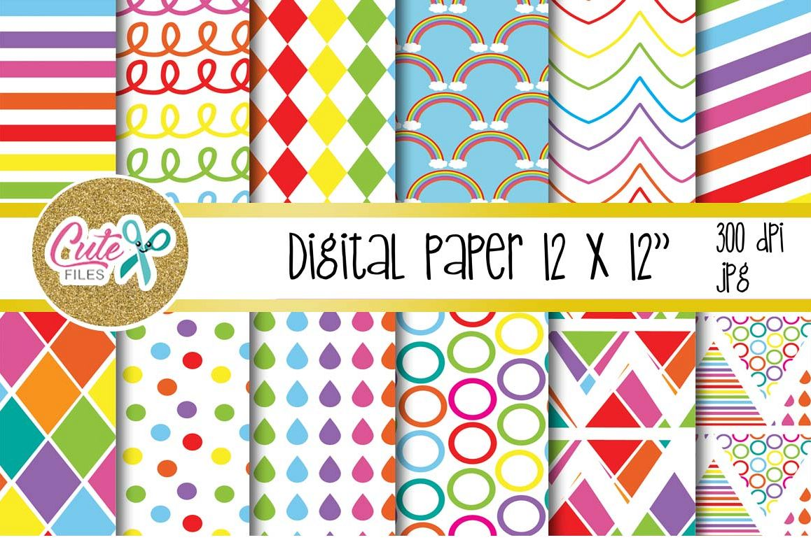 Raimbow colorful, digital paper for scrapbooking example image 1