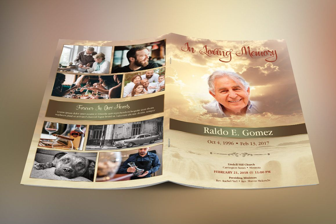 Forever Funeral Program Template example image 1