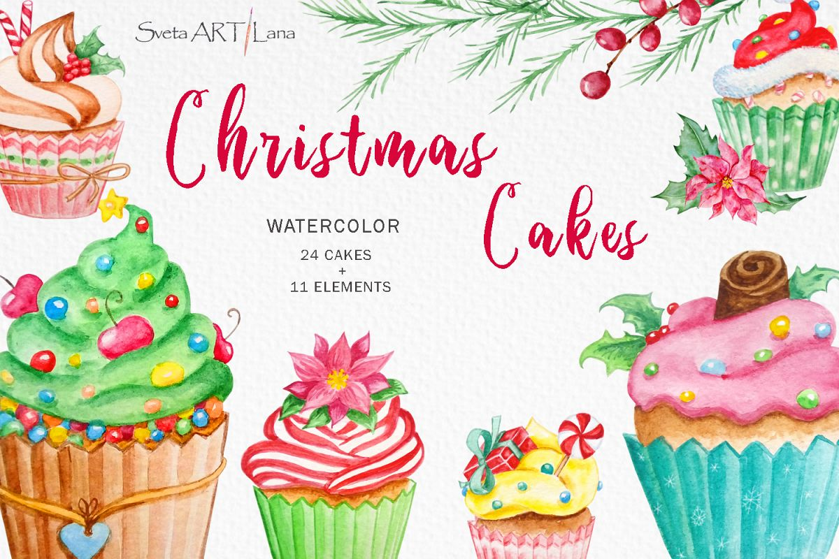 Christmas cupcakes clipart, watercolor cake example image 1
