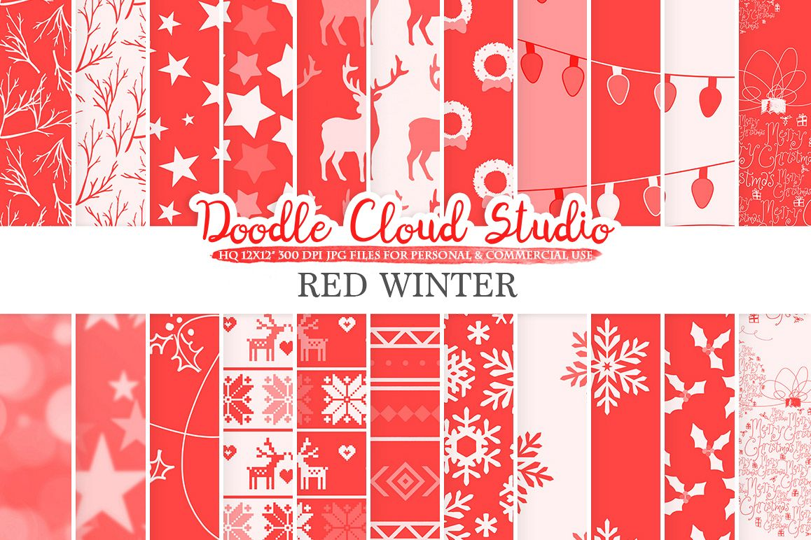 Red Winter digital paper, Scarlet Christmas Holiday patterns, Stars Snow deers X-mas background, Instant Download, Personal & Commercial Use example image 1