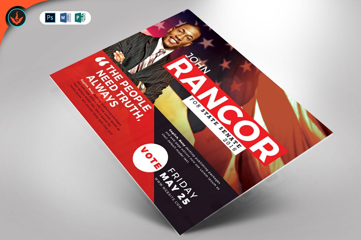 Political Flyer Mailer Word, Publisher, Photoshop Template example image 1