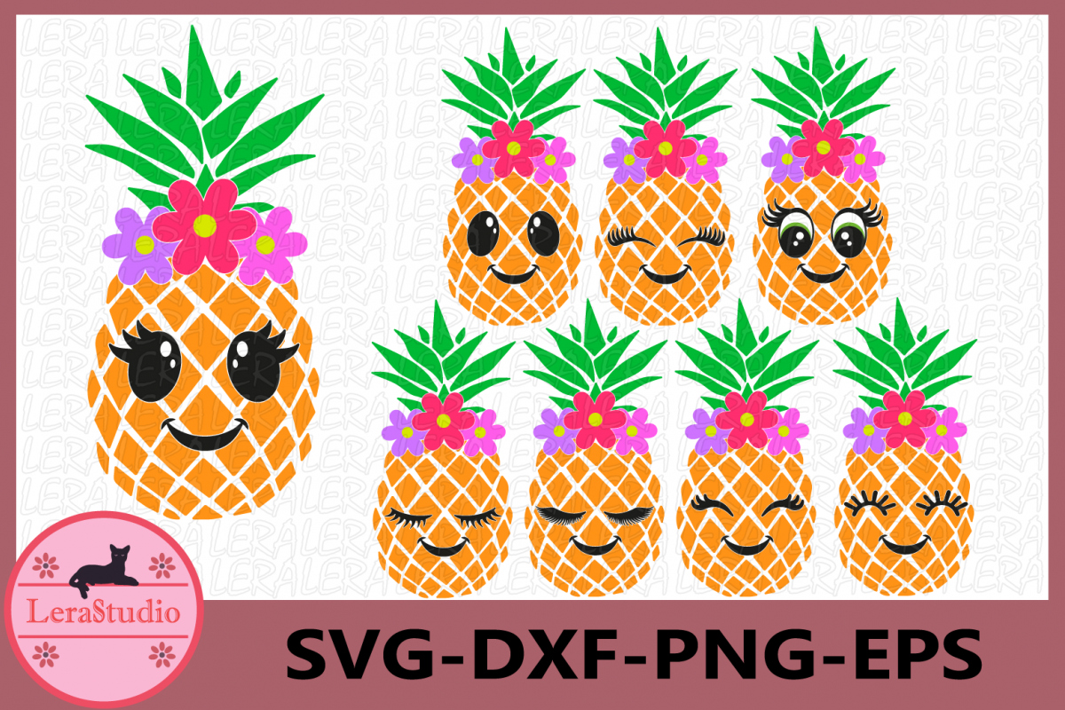 Pineapple face Svg, Pineapples SVG, Eyelashes SVG, Flower example image 1