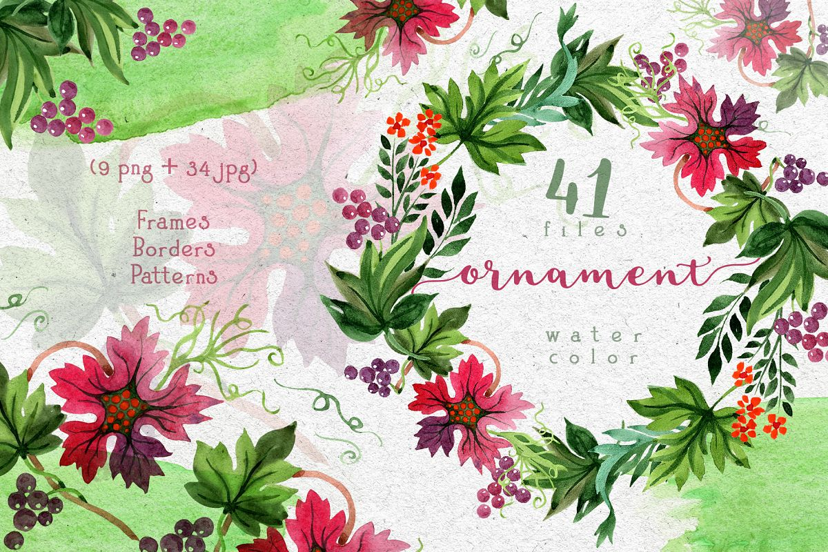 Autumn ornament PNG watercolor leaves set example image 1