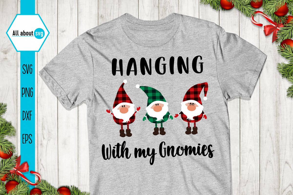 Hanging With My Gnomies Buffalo Plaid Svg example image 1