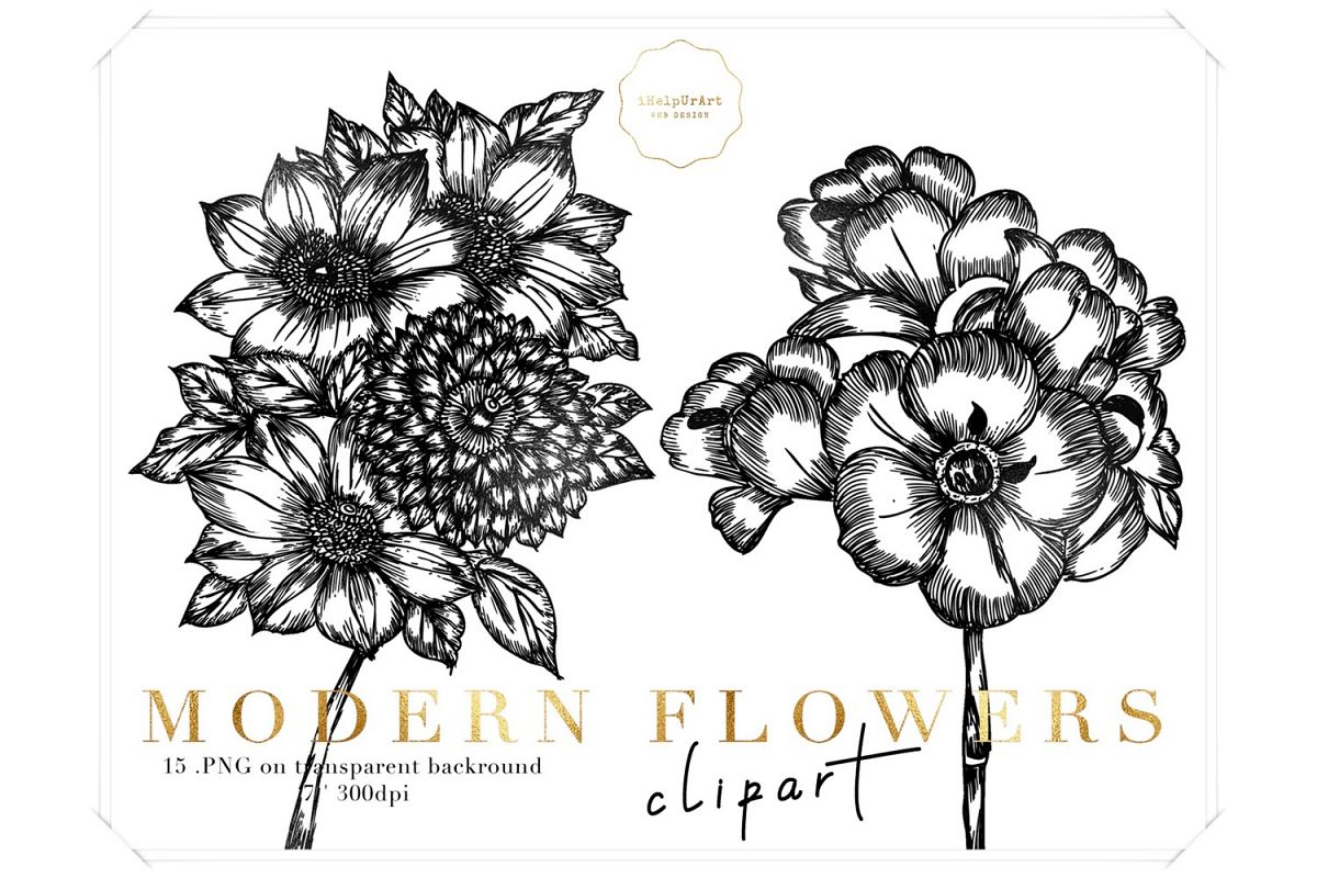 Modern Flowers Clipart example image 1