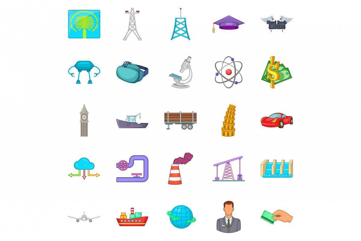 Screw icons set, cartoon style example image 1