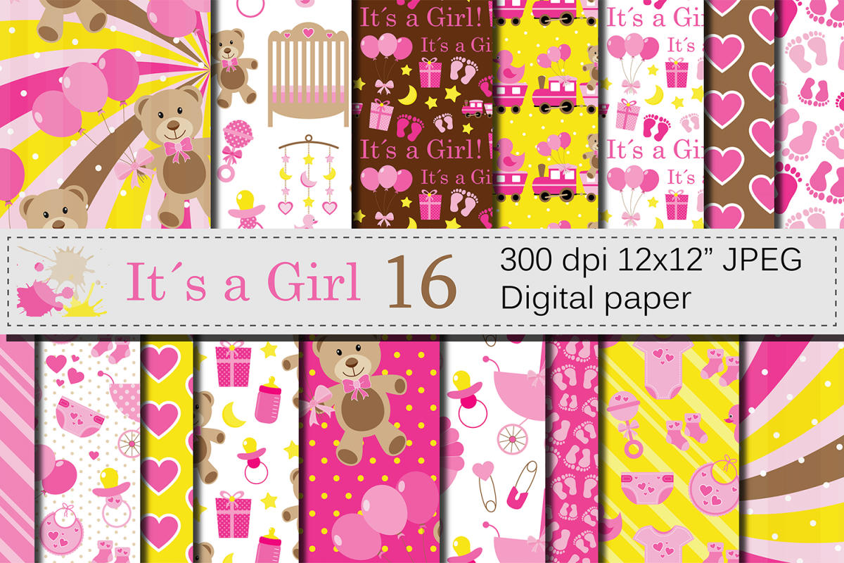 It`s a Girl Digital Paper Pack / Baby Girl Pink Digital Papers / Baby Shower backgrounds / Scrapbooking Printable Papers / Nursery Digital Paper example image 1