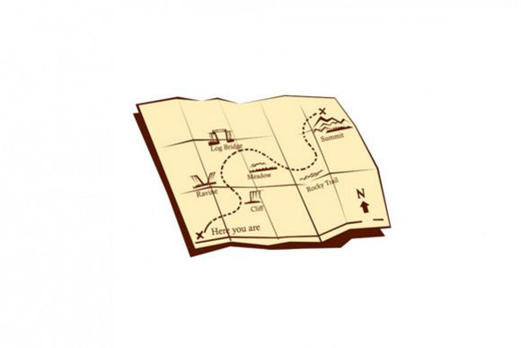 Map of Trail with X Marks The Spot Woodcut example image 1