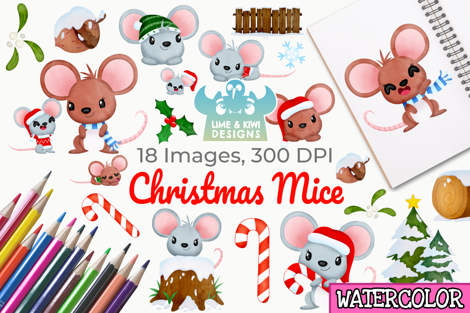 Christmas Mice Watercolor Clipart, Instant Download example image 1