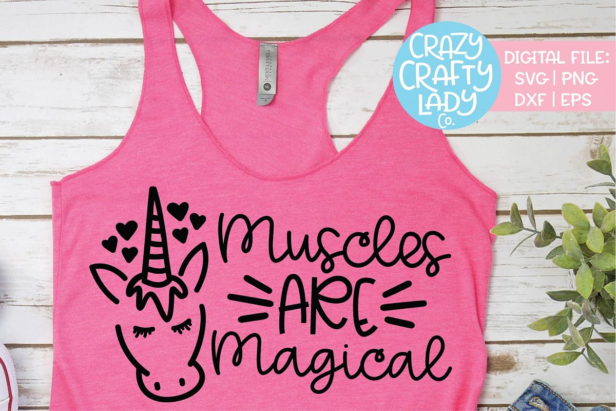 Muscles Are Magical Unicorn Workout SVG DXF EPS PNG Cut File example image 1
