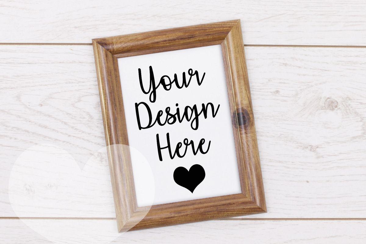 Styled Frame Mockup, Dark Oak Frame Mockup, Stock Photo example image 1