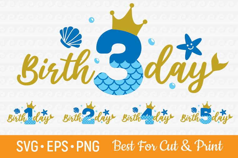 Mermaid Birthday Numbers Cutting & Printing file example image 1